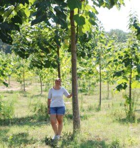 Kim Martens standing next to an Empress tree